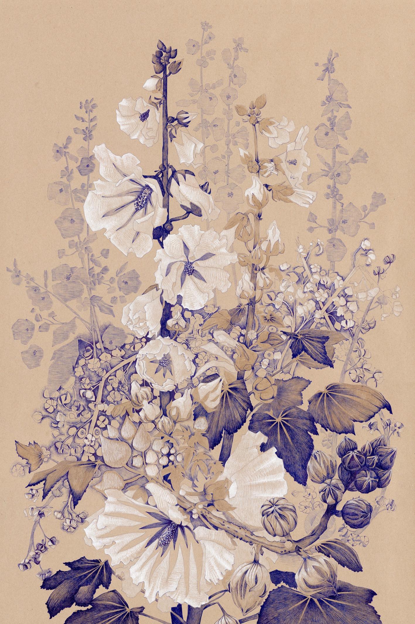 Manuela Bianco hollyhocks lookatie364 kunstpost